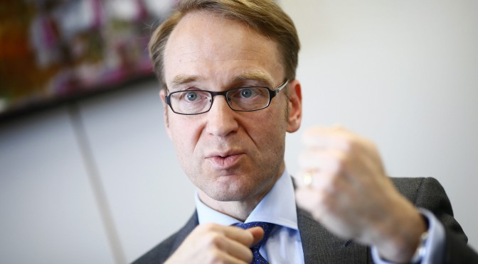 Jens Weidmann, president of German Bundesbank, answers a reporter's questions during an exclusive interview with Reuters at the Bundesbank headquarters in Frankfurt in this April 16, 2012 file picture. To match Special Report DRAGHI-ECB/INSIDE   REUTERS/Kai Pfaffenbach/Files (GERMANY - Tags: BUSINESS POLITICS)