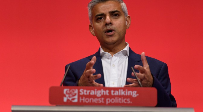 BRIGHTON, ENGLAND - SEPTEMBER 30:  Sadiq Khan speaks to delegates during the final day of the Labour Party Autumn Conference on September 30, 2015 in Brighton, England. On the final day of the four day annual Labour Party Conference delegates will debate an emergency motion on Syria and discuss matters relating to healthcare and education.  (Photo by Ben Pruchnie/Getty Images)