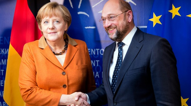 Brussels, Belgium, November 7; 2012. -- German Chancelor Angela Merkel (L) is welcome by the President of the European Parliament Martin Schulz (R) prior to a bilateral meeting in the office of the President.